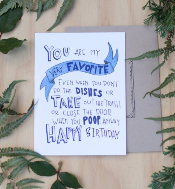 Funny birthday card for boyfriend, husband, you are my very favorite thing, hipster card, hand lettered original design