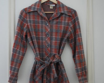 Grey and red belted plaid sweater