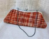 Tweed Fabric  Woven Clutch // Vintage handbag - TrellisLaneVintage