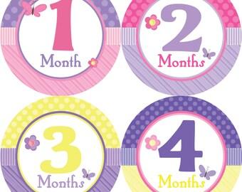 Monthly Bodysuit Stickers Girls- 1-12 Months Flower & Butterflies Printed Stickers