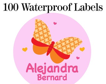 "100ct Waterproof Name Labels - Baby Bottle Labels - Kids Name Tag Labels, Butterfly 1"" Round"