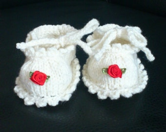 Sweet knitted baby Booties for little princesses