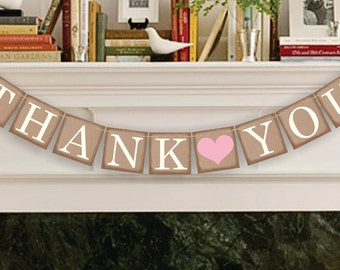 Thank You Banner - Wedding Party Photo Prop - Thank You Sign - Wedding Sign - Wedding Banner - Garland
