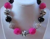 Pink and Zebra Gumball Necklace - Chunky Necklace - Little Girl's Necklace - photo prop - party favor