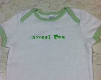 SALE Sweet Pea beautiful white green ringer baby bodysuit new size 3-6 months boy or girl