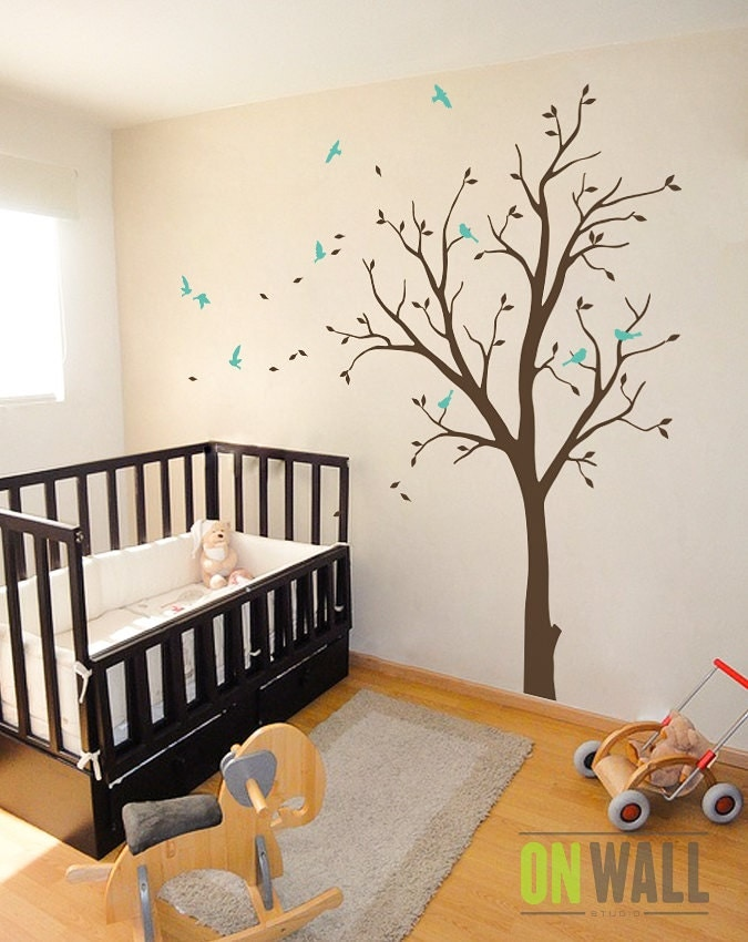 Baby nursery wall decals vinyl tree wall decal tree wall for Baby nursery tree mural