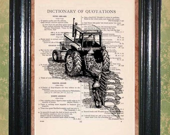 Tractor Seeding a Field - Printed on Dictionary Page, Mixed Media Collage Art