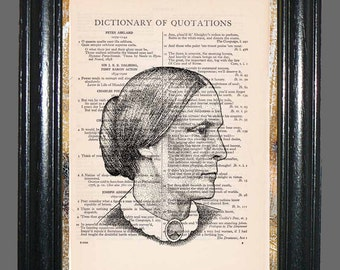 Susan B Anthony Portrait - Vintage Dictionary Book Page Art, Upcycled Book Art Print on Dictionary Page,