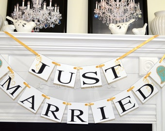 Just Married banner, paisley print wedding car decoration, gold wedding banner car sign, getaway car turquoise gold  paisley car decor