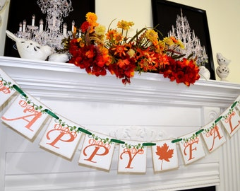 Happy Fall Banner garland, Thanksgiving mantle decoration, Happy Fall Banner Autumn Decoration Fall garland Photo Prop, autumn decoration