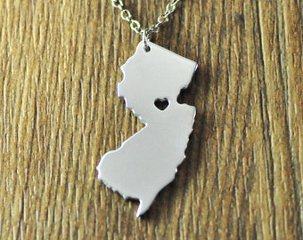 Love New Jersey state necklace, personalized I heart New Jersey necklace, custom map jewelry,gift for girl valentine's gift