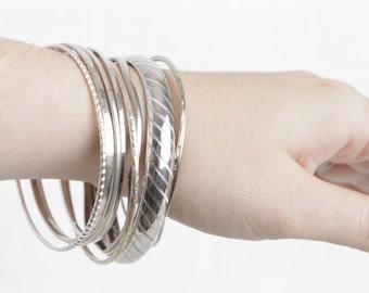 Vintage Set of 10 Stacking Bracelets, Silver Bangle Bracelets