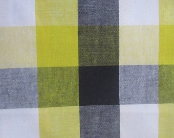 Yellow and Black Fabric by the yard, Black and Yellow Plaid Fabric, Autumn Fabric, Halloween Fabric
