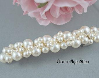 Bridal Barrette, Wedding Pearl Cluster Barrette, Ivory white cream pearls barrette, Accessories, Wedding Hair Clip, French Barrette
