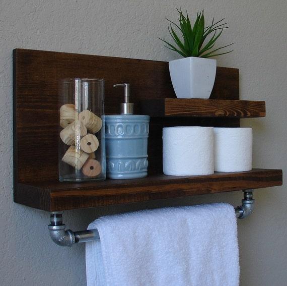 Industrial Rustic Modern 2 Tier Wall Shelf Bathroom By Keodecor