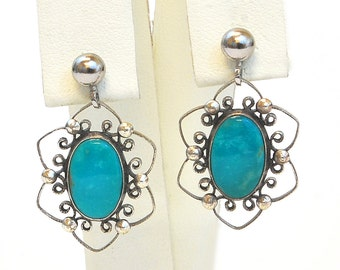 Vintage 1970s Sterling Silver and Turquoise Dangle Earrings