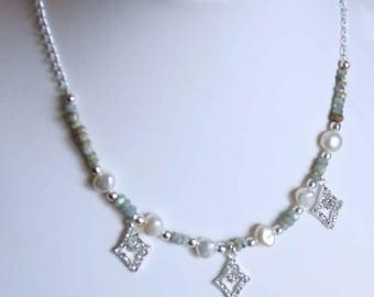 Handmade genuine rainbow coated aqaumarine and cultured pearl necklace