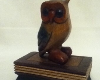 Owl figure wood owl carved