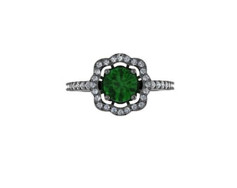 Diamond Flower Engagement Ring Green Emerald Engagement Ring 14K Black Gold with 6.5mm Emeralde Center Fine Jewelry Holiday Gifts - V1078