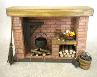 Doll House Fireplace with Accessories, Colonial Tudor Medieval Cooking Historical Kitchen