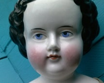 Antique China Head Doll Cloth Body Kidskin Leather Hands Circa 1860s Black Curled Hair Collector Doll 22 Inch.