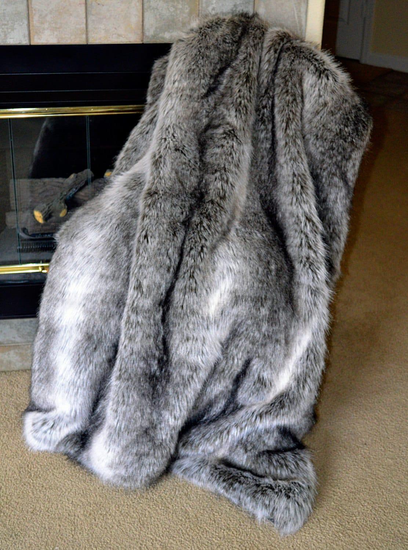 exotic silver grey wolf faux fur fake fur blanket throw. Black Bedroom Furniture Sets. Home Design Ideas