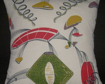 "Atomic Pillow Cover 1950's Barkcloth ""Lunar Landing"" Mad Men Retro Mid Century Sputnik"