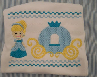 Cinderella Custom Embroidery Smocked Tee Disney Trip