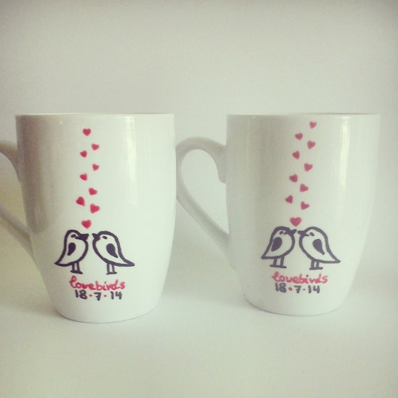 ... Custom Hand-painted Personalized mugs//engagement, bridal shower