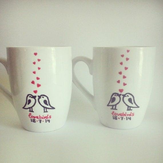 Customized Wedding Gift Mugs : ... Custom Hand-painted Personalized mugs//engagement, bridal shower