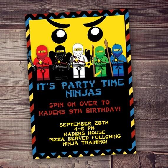 Ninja birthday invitation PRINTED invitations Free shipping