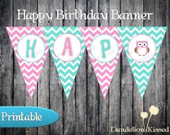 Pink Teal Owl Happy Birthday Digital Printable Banner