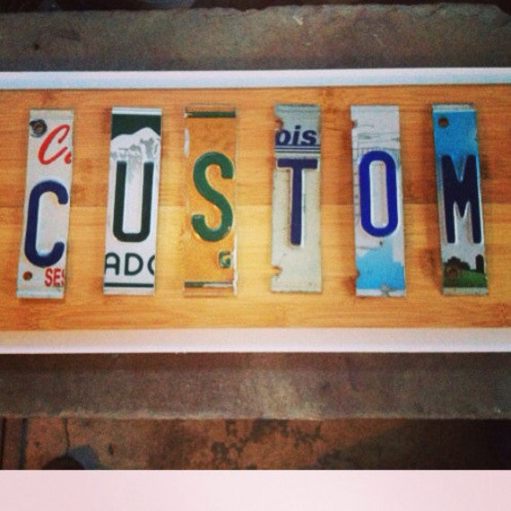 Items similar to custom license plate signs 9 letters or for Custom license plate letters