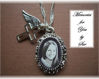 Personalized  - Custom  - Antique Silver Photo Necklace - Keepsake Memorial Jewelry