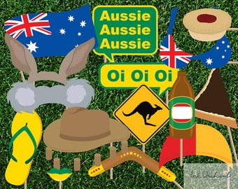 Instant Download Australia Day Photo Booth Props Printable Pack 15 items