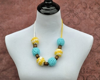 Teething Beads - Breastfeeding - Blue, Yellow, and White
