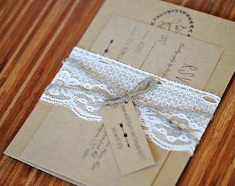 Rustic Wedding Invitation - Kraft Wedding Invitation - Lace and Twine Invitation - SAMPLE & DEPOSIT