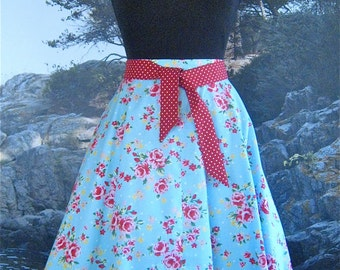 SALE Simple Circle Skirt in Garden Party, pale blue, fabric, from Bird of Paradise Clothing. NOW 40% OFF