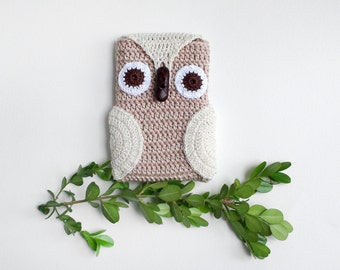 Crochet Beige Owl Phone cozy, Beige iPhone Cozy,gift for birthday, crochet phone case, iPhone Gadget Case