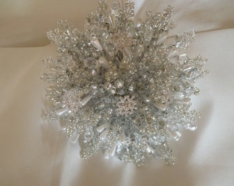 Brides bouquet, winter wedding, snowflake bouquet, silver bouquet, beaded bouquet, brooch bouquet, wedding bouquet, Christmas wedding
