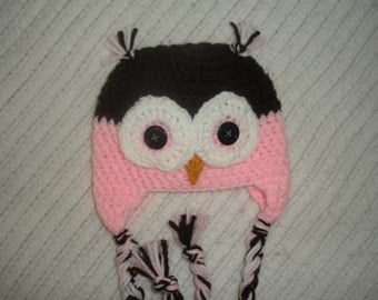 READY TO SHIP 0-3 Month - Owl earflap hat, baby owl hat, pink and brown owl hat, baby gift