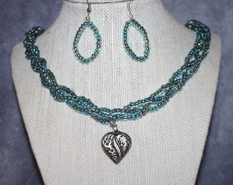 Heart Necklace ,  Antique Silver Heart Necklace and Earing Set with Teal Seed Beads with Lobster Claw Clasp