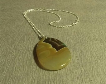 Necklace, Sterling Silver  Necklace with Yellow Agate Stone with Sterling Silver Lobster Claw Clasp