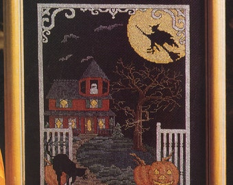 Counted Cross Stitch Halloween Haunted House pattern and instructions