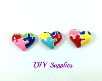 Set of 3 Autism awareness heart flat back resin - acrylic flat backs for mobile phone covers - flower centers - scrapbooking resins