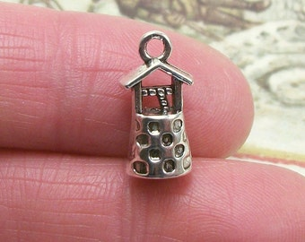8 pc. Wishing Well charm, 17x8mm, antique silver finish
