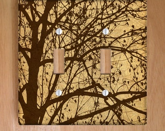 Ljubljana Weeping Vinyl Double Light Switch Cover, Wallplate, Home Decor, Brown, Nature, Branches, Forest, Silhouette, Tree, Woods, Tan
