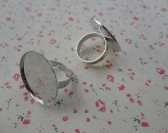 50pcs Adjustable Antique Silver Ring Blanks 25mmx25mm