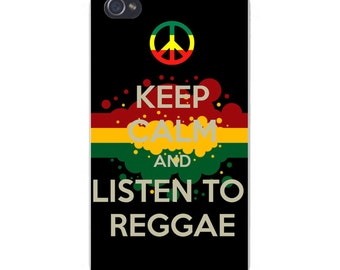 Apple iPhone Custom Case White Plastic Snap on - Keep Calm and Listen to Reggae w/ Peace Sign and Red, Yellow, & Green Paint Splatters 5844