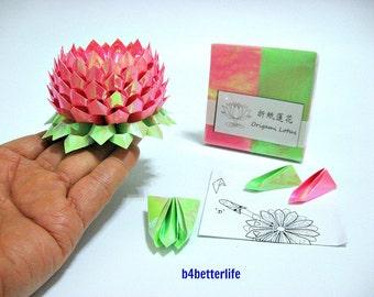 Pack Of 200 sheets Pink Color DIY Origami Lotus Paper Folding Kit for Making 2pcs of Medium Size Lotus. (AV Paper Series). #LPK-07.